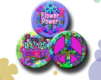 PEACE AND LOVE -  Digital Collage Sheet - 1.313 inch circles for 1 inch button images.  Instant Download #209.