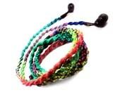 Custom Wrapped Headphones - Tangle Free Hippie Rainbow Earbuds - iPhone Earphones, Earpods, Skullcandy, Sony - Teen Gift - 'Psychedelic'