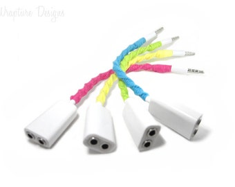 Splitter - Wrapped Headphones Audio Splitter - Choose Your Colors - Earbuds, Earphones, iPhone Earpods Music Jack Splitter -'Tunes 4 Two'