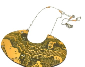 "Necklace ""teesoan sh'sothi""  printed circuit board, PCB earrings, motherboard"