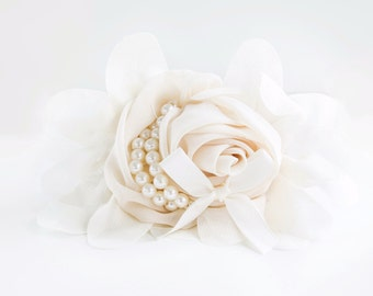 Dog Collar Flower - Ivory Chiffon and Pearl - Off-White Detachable Dog Collar Flower for Weddings