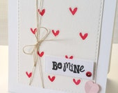 Be Mine Valentine's Day Watercolor Hearts Card
