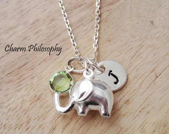 Baby Elephant Necklace - Baby's First Necklace - New Mom Jewelry - 925 Sterling Silver Personalized Jewelry -