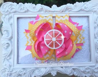 Pink Lemonade Hair bow - Lemonade Party - Girls Birthday Bow - Lemonade Stand - Polka dot bow - Lemonade Pageant bow - Lemon Festival