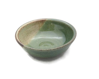 Round green and tan glazed ceramic bowl, hand thrown kitchen bowl - side dish - condiment bowl - small prep bowl - oil dipping bowl