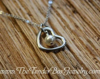 Personalized heart necklace with choice of birthstone or pearl Birthstone heart necklace Pearl heart necklace gift under 10 gift for her