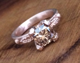 Cognac Diamond Engagement Ring - Ready to Ship