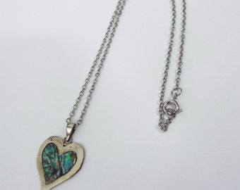 Vintage Shimmery Abalone Heart Charm Necklace