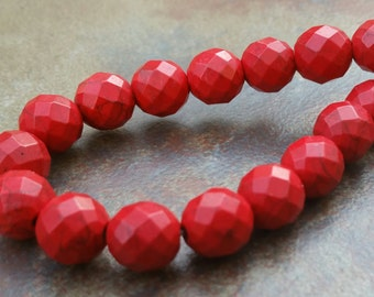 sale on 12mm Red Faceted Howlite Round Beads,  full strand. 30 pcs