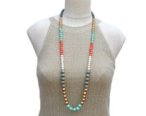 long bohemian necklace / wood bead necklace / modern necklace / multi color necklace / mint gold gray orange white / long beaded necklace