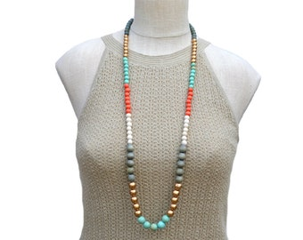 long boho necklace / wood bead necklace / modern necklace / multi color necklace / mint gold gray orange / long beaded necklace / summer