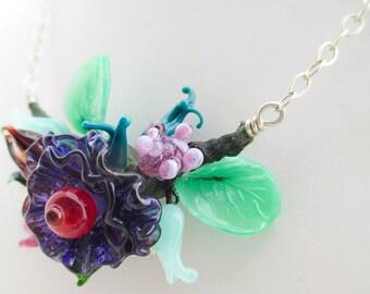 SALE - Artisan Glass Flower Bouquet Lampwork Glass Necklace