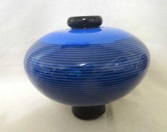 Nadal Art Glass Signed Blue Stripe Bowl Vase