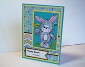 Happy Easter everybunny - Handmade Greeting Card - Easter Bunny with Daffodils and Bee