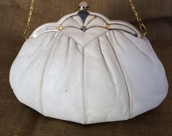 Genuine vintage JUDITH LEIBER karung pleated purse with chain link strap