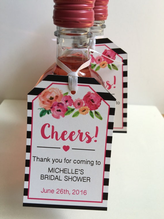 Bridal Shower Favor Tags for Mini Wine Bottles - Wine Bottle Tags ...