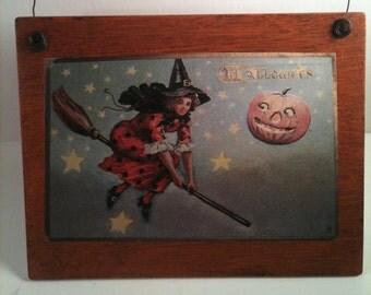 Halloween Wall Plaque Vintage Halloween Print Witch Broomstick Pumpkins Wooden Wall Decor