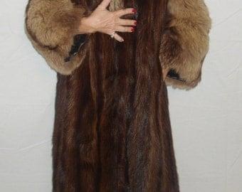 SALE Sable Fur Coat Full Length Coat Jacket from full Pelts with Brown Fox Fur Trim Size Small-Medium