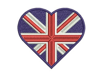 Machine Embroidery Design Instant Download - Heart United Kingdom Flag Union Jack