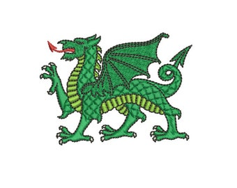 Machine Embroidery Design Instant Download - Heraldic Dragon Passant