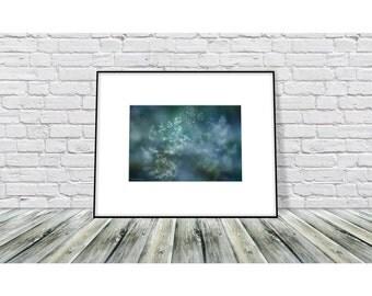 Abstract Nature Photography, Grass Photograph, Wall Art Print, Blue Wall Decor, Winter Wall Decor, Christmas Wall Decor
