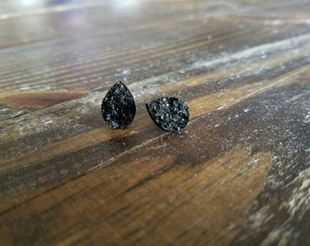 Black Faux Druzy Teardrop Earrings - 10x14mm