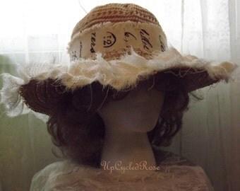 Miss P's Garden Hat Shabby Couture Sun Hat Beach Wear