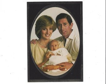 1980s Color Portrait Postcard of Prince Charles, Princess Diana, & Prince William, Sweet Photo of the Royal Couple, Unposted, 6.5 x 4.5 Inch