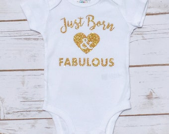 DIY Just Born & Fabulous Sparkle Glitter Custom Newborn Iron on Decal - Sparkly Gold Pink Silver or Red Glitter