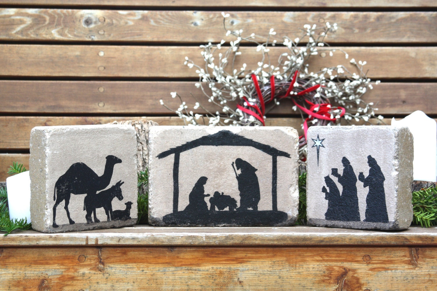 Rustic nativity scene christmas decor indoor or outdoor 3 for Outdoor christmas scenes