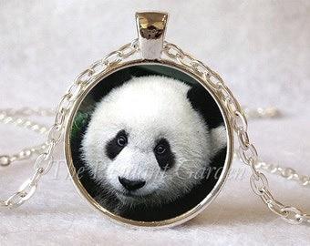 PANDA PENDANT Panda Necklace Panda Jewelry Black and White Panda Panda Lover Gift Wildlife Jewelry