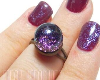 Magic water globe adjustable ring mermaid moonchild gipsy soft grunge goth witchy glass dome, snow globe