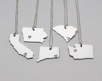 State Necklace, ANY City State Necklace, Personalized Necklace, State Jewelry