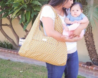 Yellow and Gray Diaper bag