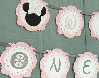 "Silver GLITTER & Pale Pink MINNIE Mouse ""Winter ONEderland"" Banner - Personalized with name - Birthday, 1st Birthday, Winter glitter banner"