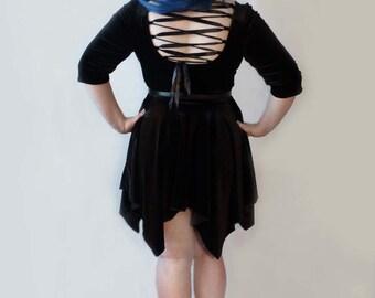 Lily - velvet handkerchief hem dress with lace up back