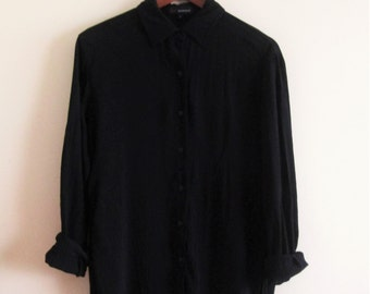 Vintage 90s Black Oversized Blouse