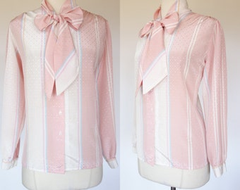 1980s ascot blouse, long sleeve, pink striped, Nordstrom town, top, XL