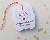 Valentine LOVE tags - Customized Valentines Day tags - antlers heart gift tags - Valentine party favor tags - personalized tag - TG-21