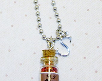 Christmas Elf Dust In A Bottle Necklace With Initials, Elf Dust Jewelry,Initial Necklace