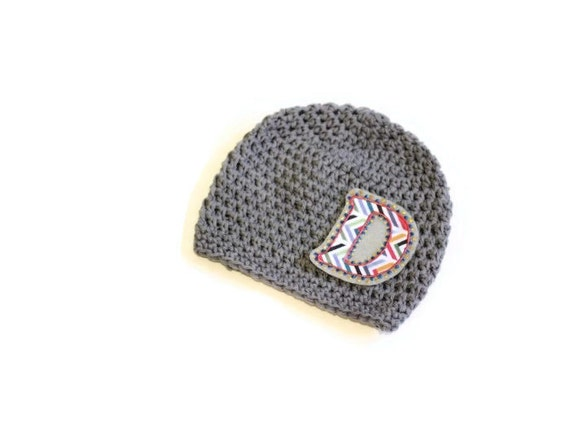 Crocheting Letters Into A Hat : Monogram Baby Boy Hat, Crochet Hat for Boys Soft Gray Cotton Hat with ...