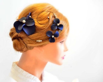 Navy blue fascinator Flower Corsage headpiece fascinator Flower hair pin Wedding headpiece Hair flower Wedding flower