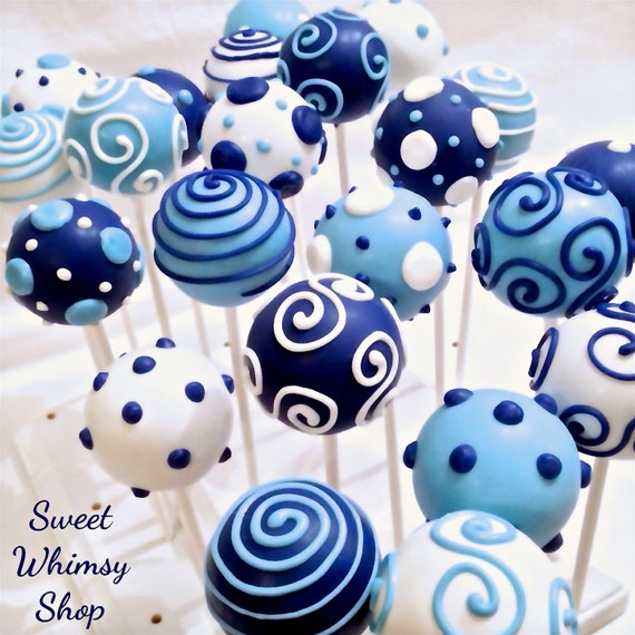 12 Navy Light Blue & White Cake Pops For By SweetWhimsyShop