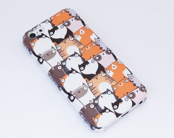 Staring Cats Patterned iPhone 5C Case