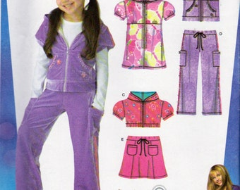Hannah Montana Simplicity 3714 , Girls Mini Dress, Hoodie Pattern,  Pull On Pants and Skirt Sewing Pattern, Sizes 3 to 8