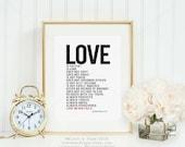 Love Is Patient || anniversary gift, 1 Corinthians 13, love is patient, love is kind , wedding print, wedding gift, 1 corinthians 13 art