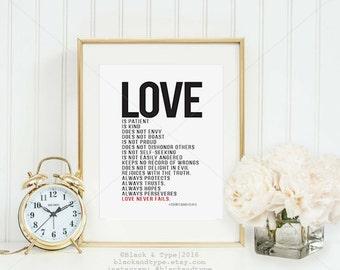Love Is... || anniversary gift, 1 Corinthians 13, love is patient, love is kind , wedding print, wedding gift, 1 corinthians 13 art, love is