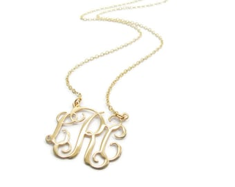 """Gold monogram necklace. 1.25"""" monogram necklace. Gold plated sterling silver. Gift for her. Monogram gold necklace. Monogram jewelry."""