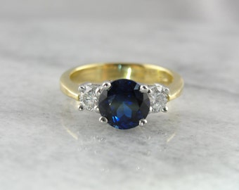 The Sophisticated Classic: Rare Ceylon Sapphire and Diamond Engagement Ring in 18K Gold and Platinum 10P0YD-D