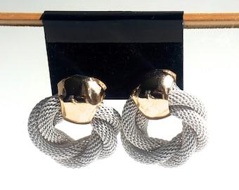 Vintage Earrings,White Mesh Earrings,Mesh Door Knocker Earrings,White Wedding Earrings,Post Earrings,Chunky Earrings,Vintage Costume Jewelry